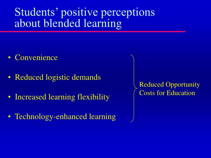 Students' positive perceptions about blended learning