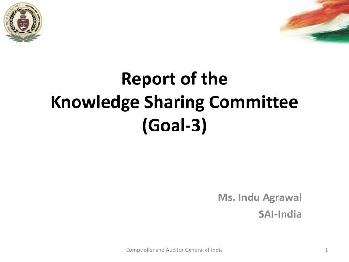 Report of the knowledge sharing committee goal 3