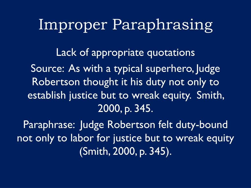 Ppt Academic Misconduct And Plagiarism Powerpoint Presentation Free Download Id 5903400 Proper Improper Paraphrasing