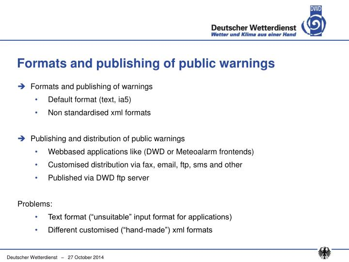 Formats and publishing of public warnings