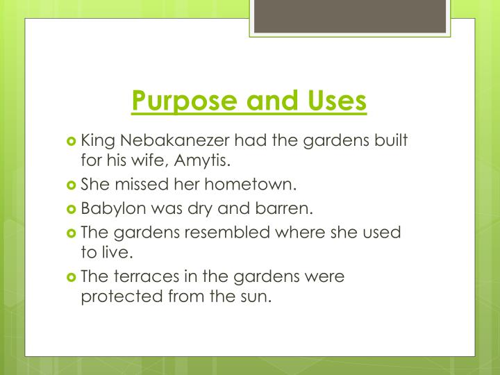 Purpose and Uses