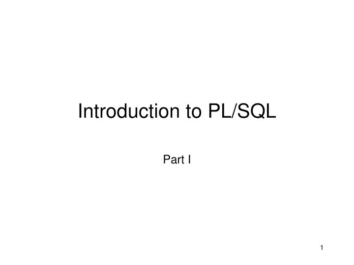 introduction to pl sql n.