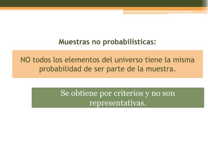 Muestras no probabilísticas: