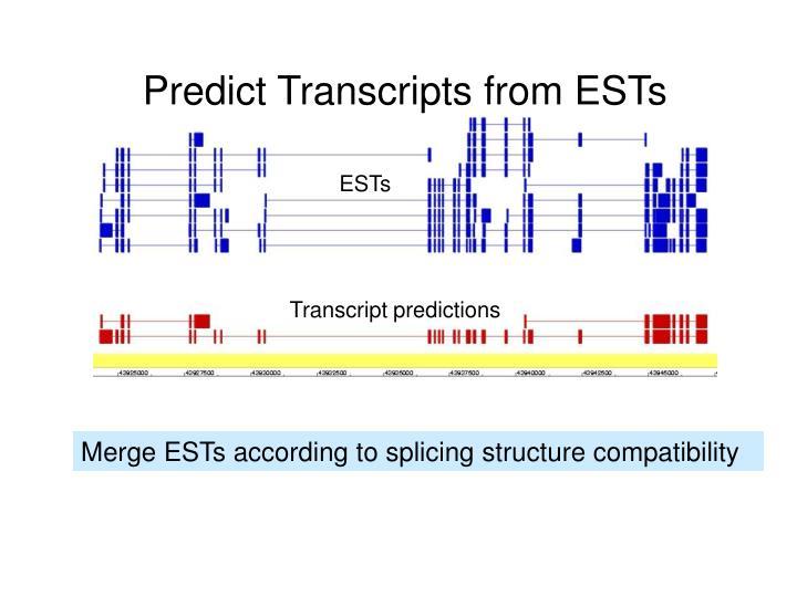 Predict Transcripts from ESTs