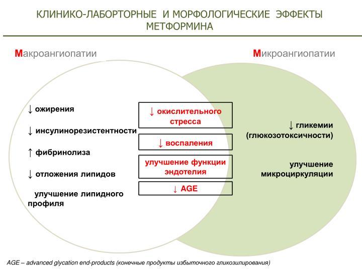 КЛИНИКО-ЛАБОРТОРНЫЕ  И МОРФОЛОГИЧЕСКИЕ  ЭФФЕКТЫ МЕТФОРМИНА