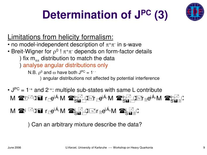 Determination of J