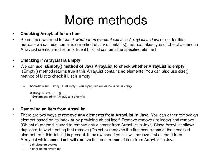 More methods