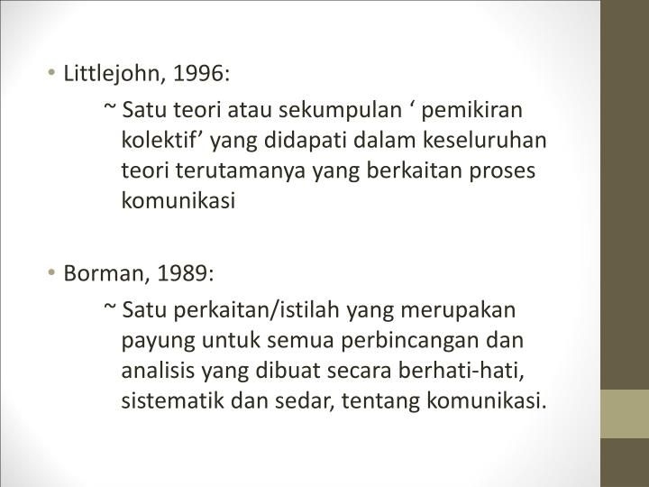 Littlejohn, 1996: