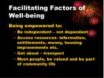 facilitating factors of well being