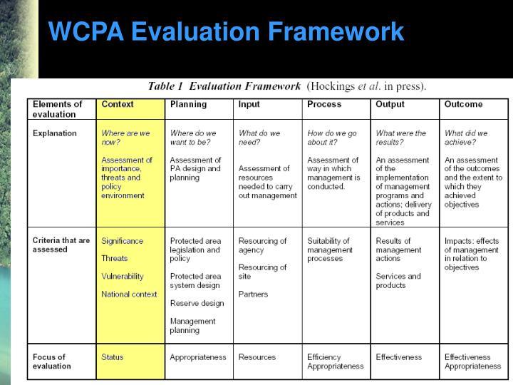 WCPA Evaluation Framework