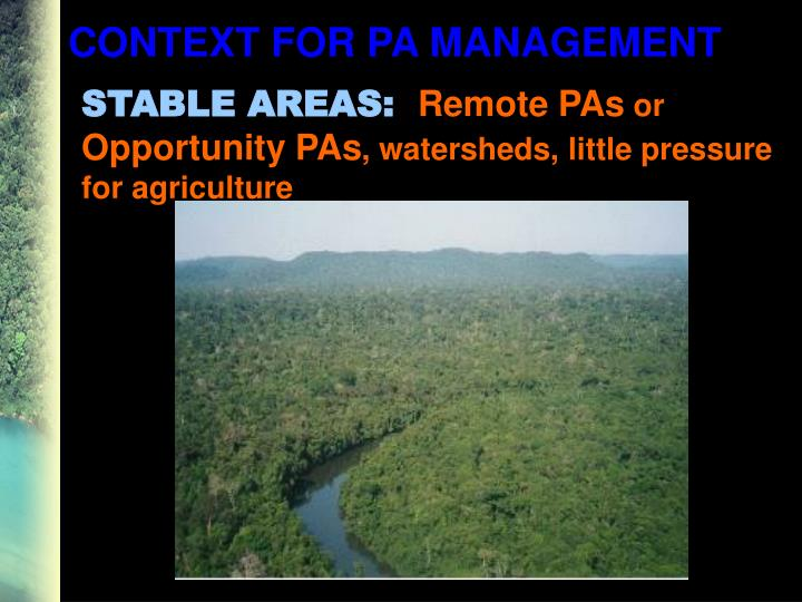 CONTEXT FOR PA MANAGEMENT
