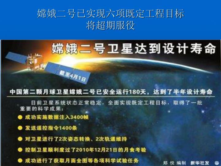 嫦娥二号已实现六项既定工程目标