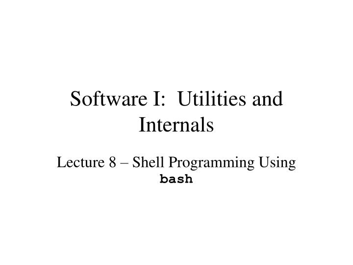 software i utilities and internals n.