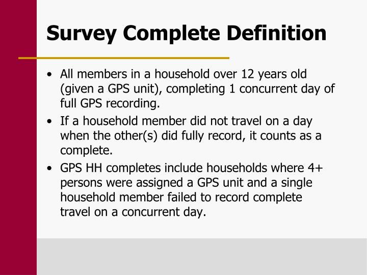 Survey Complete Definition