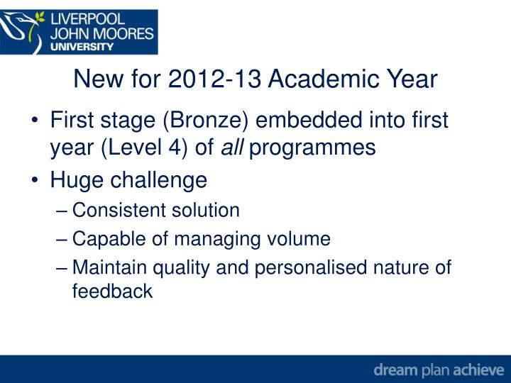 New for 2012-13 Academic Year