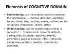 elements of cognitive domain