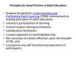 principles for good practice in adult education