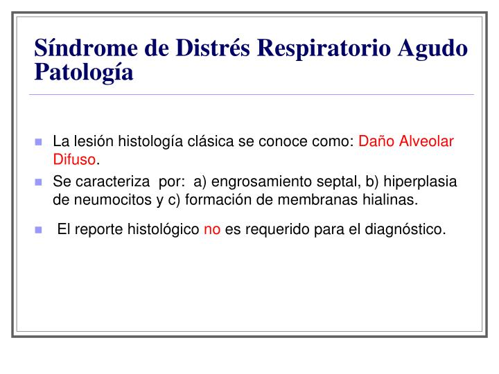 Síndrome de Distrés Respiratorio Agudo Patología