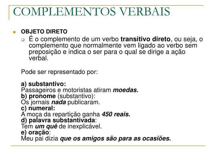 COMPLEMENTOS VERBAIS