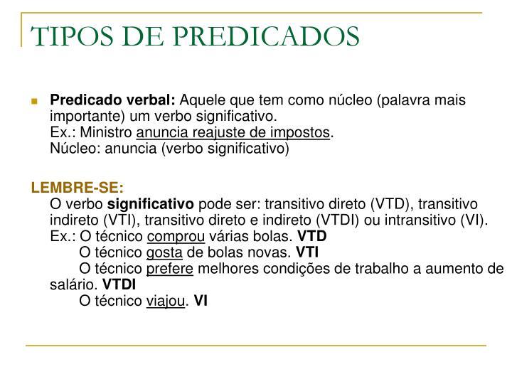 TIPOS DE PREDICADOS