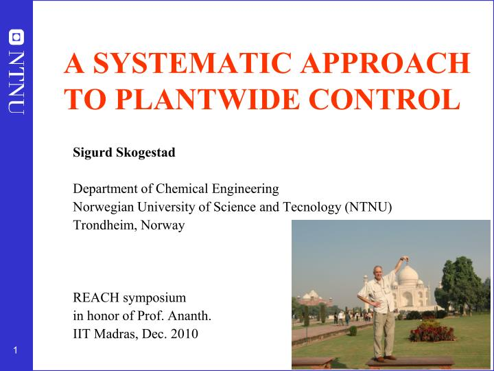 a systematic approach to plantwide control n.