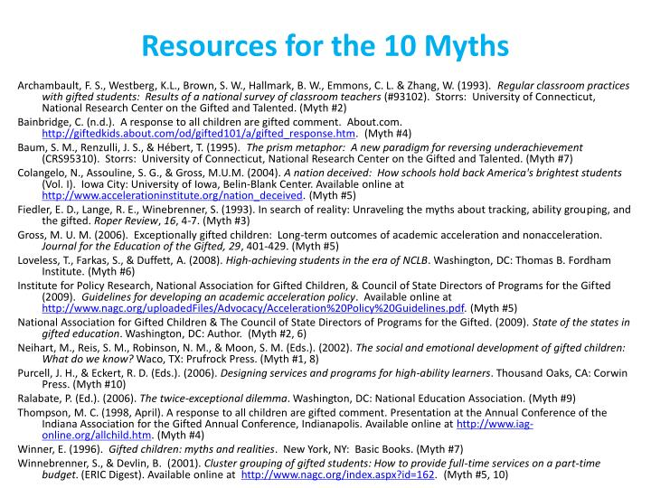 Resources for the 10 Myths