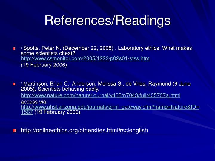 References/Readings