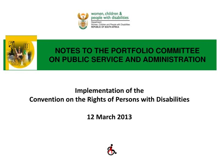 notes to the portfolio committee on public service and administration n.