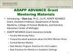 adapp advance grant mentoring materials