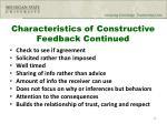 characteristics of constructive feedback continued