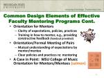common design elements of effective faculty mentoring programs cont