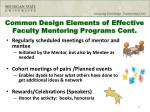 common design elements of effective faculty mentoring programs cont1