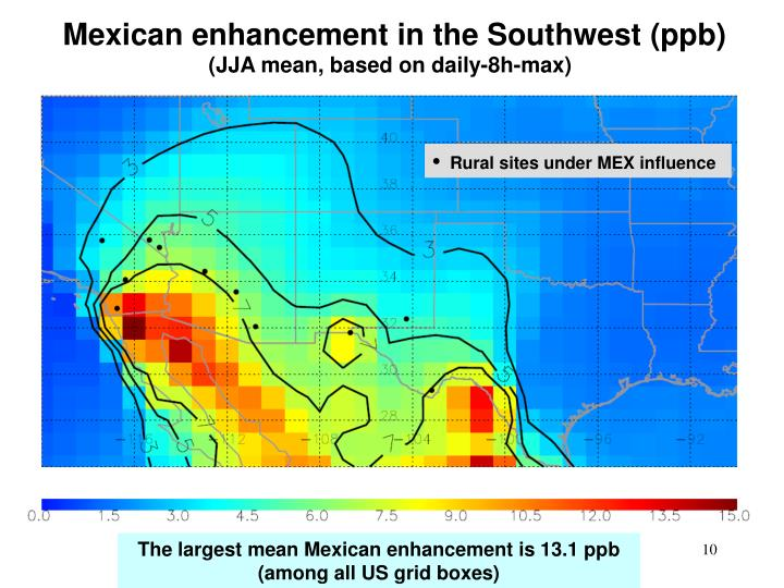 Mexican enhancement in the Southwest (ppb)