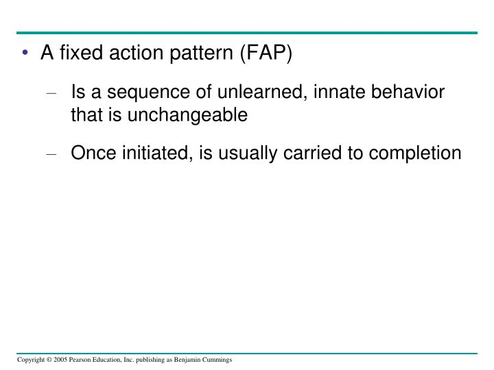 A fixed action pattern (FAP)