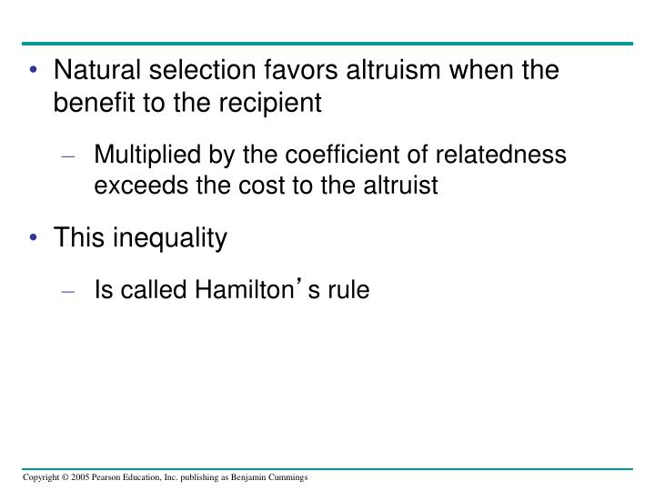 Natural selection favors altruism when the benefit to the recipient