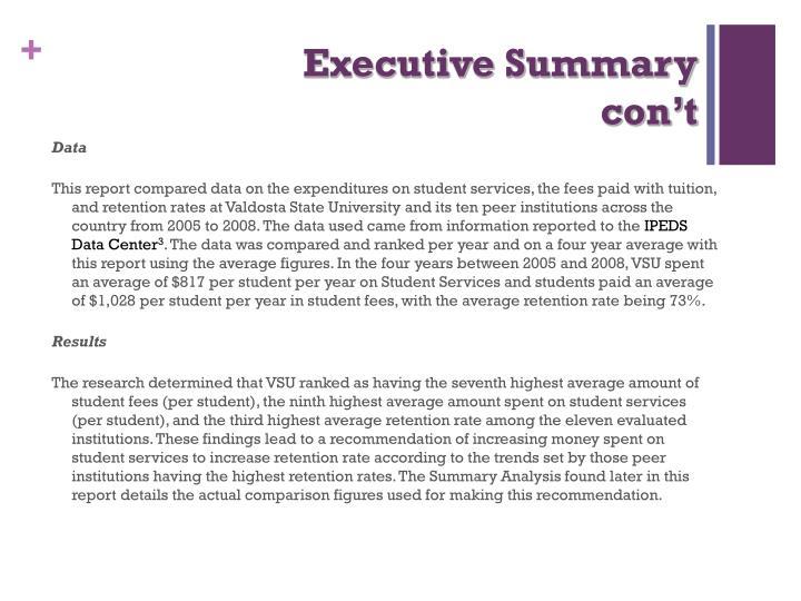 Executive summary con t