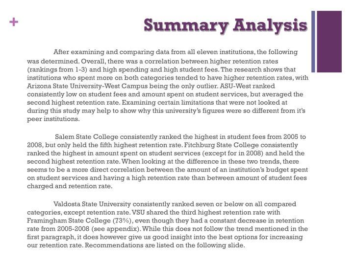 Summary Analysis
