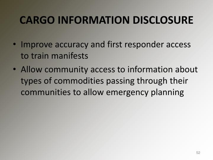 CARGO INFORMATION DISCLOSURE
