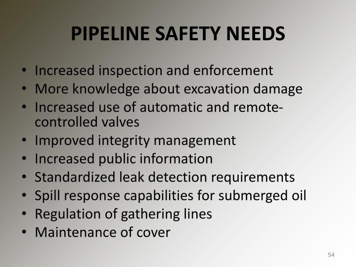 PIPELINE SAFETY NEEDS
