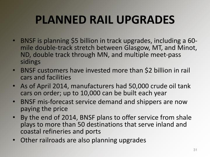 PLANNED RAIL UPGRADES