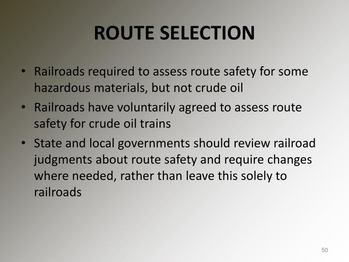 ROUTE SELECTION