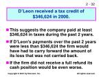 d leon received a tax credit of 346 624 in 2000