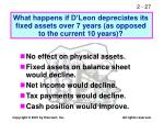 what happens if d leon depreciates its fixed assets over 7 years as opposed to the current 10 years