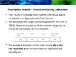 peer review reports criteria and quality distribution