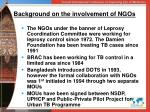 background on the involvement of ngos