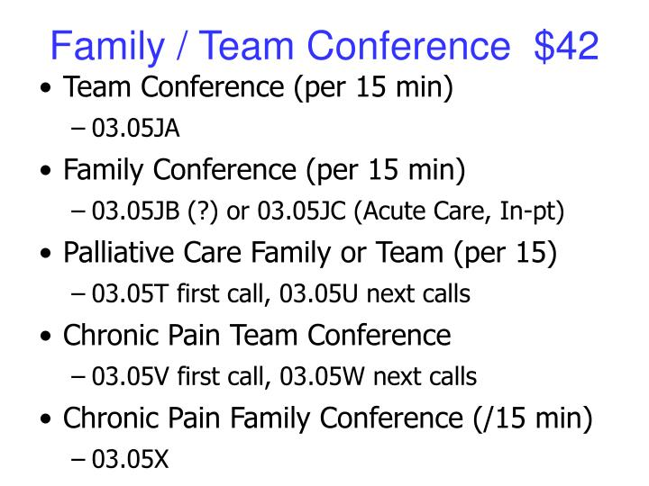 Family / Team Conference  $42
