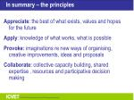 in summary the principles
