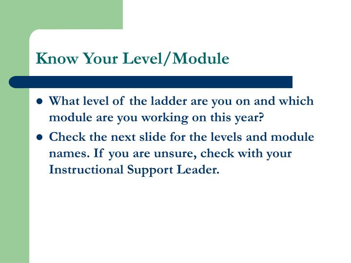 Know Your Level/Module
