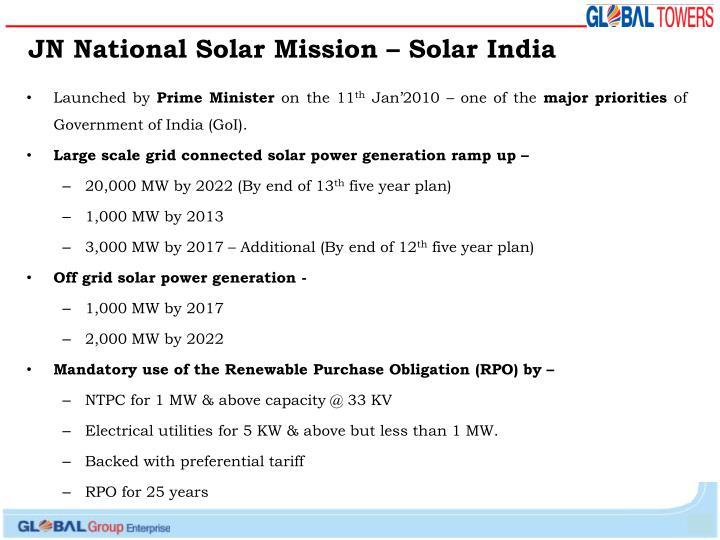 JN National Solar Mission – Solar India