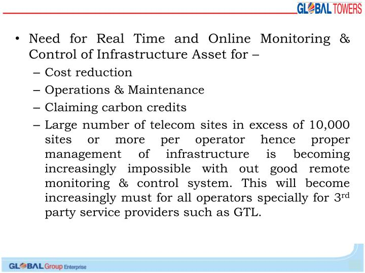 Need for Real Time and Online Monitoring & Control of Infrastructure Asset for –